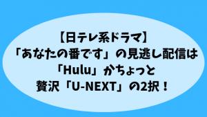 【日テレ系ドラマ】「あなたの番です」の見逃し配信は「Hulu」かちょっと贅沢「U-NEXT」の2択!