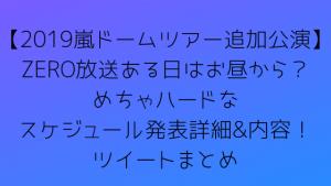 【2019嵐ドームツアー追加公演】ZERO放送ある日はお昼から?めちゃハードなスケジュール発表詳細&内容!ツイートまとめ